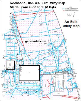 As-built utility map based on ground penetrating radar (GPR) data and metal detection (EM) data obtained by GeoModel, Inc.