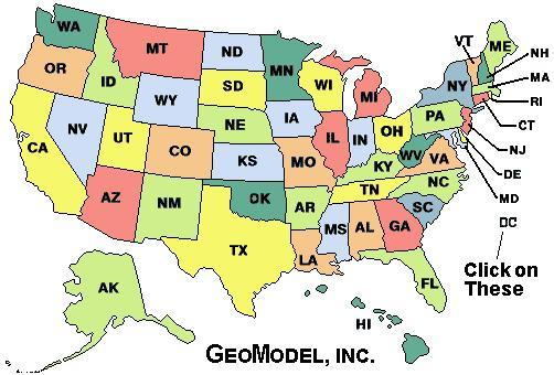 Map of the Untied States of America for ground penetrating radar projects