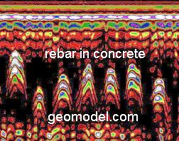Rebar located with ground radar (GPR) by GeoModel, Inc.